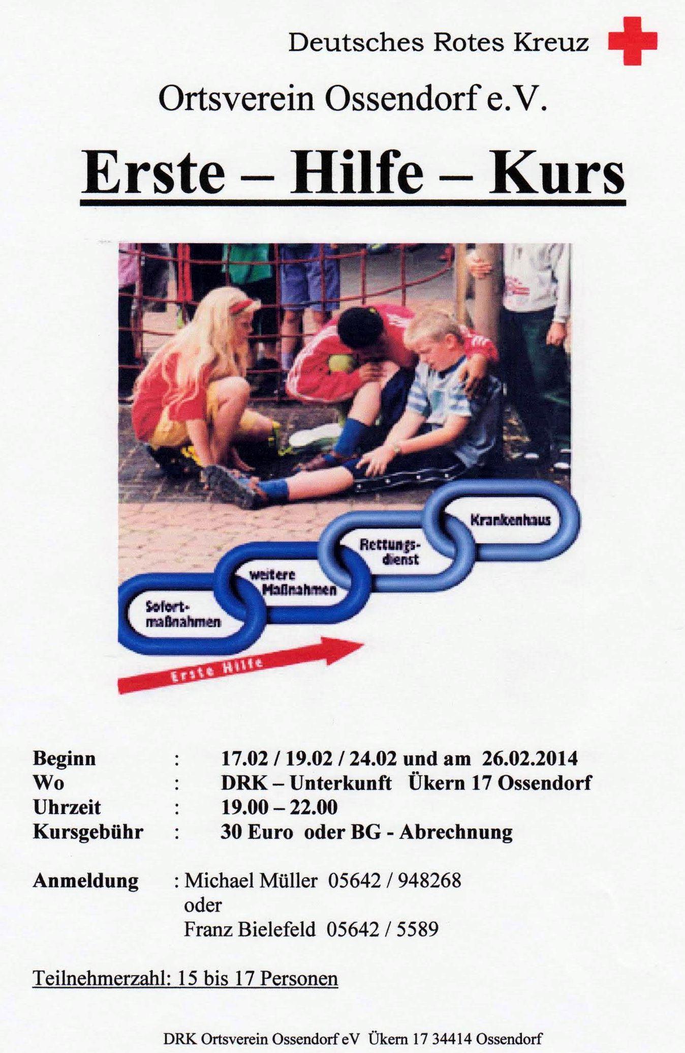 Erste Hile Kurs 2014 DRK Ossendorf