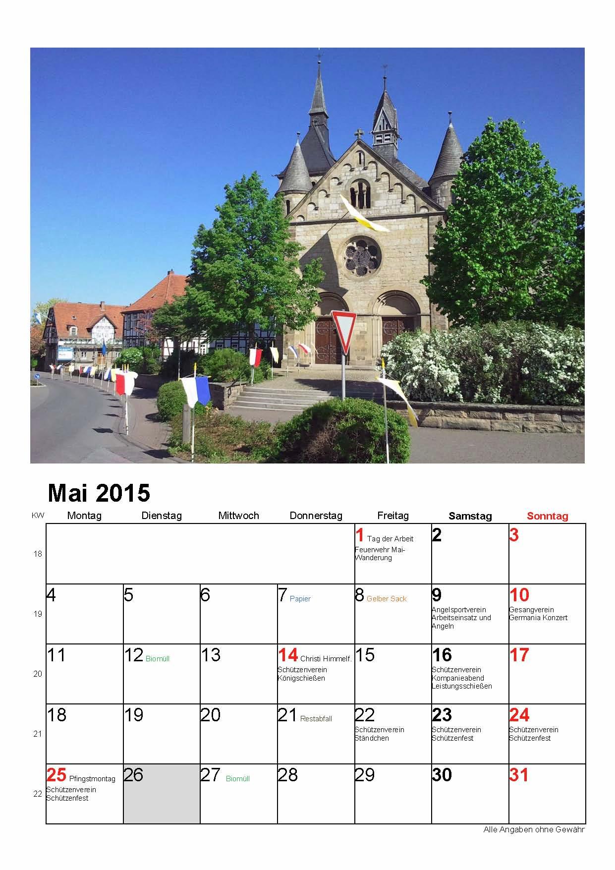Fotokalender Ossendorf 2015 Muster