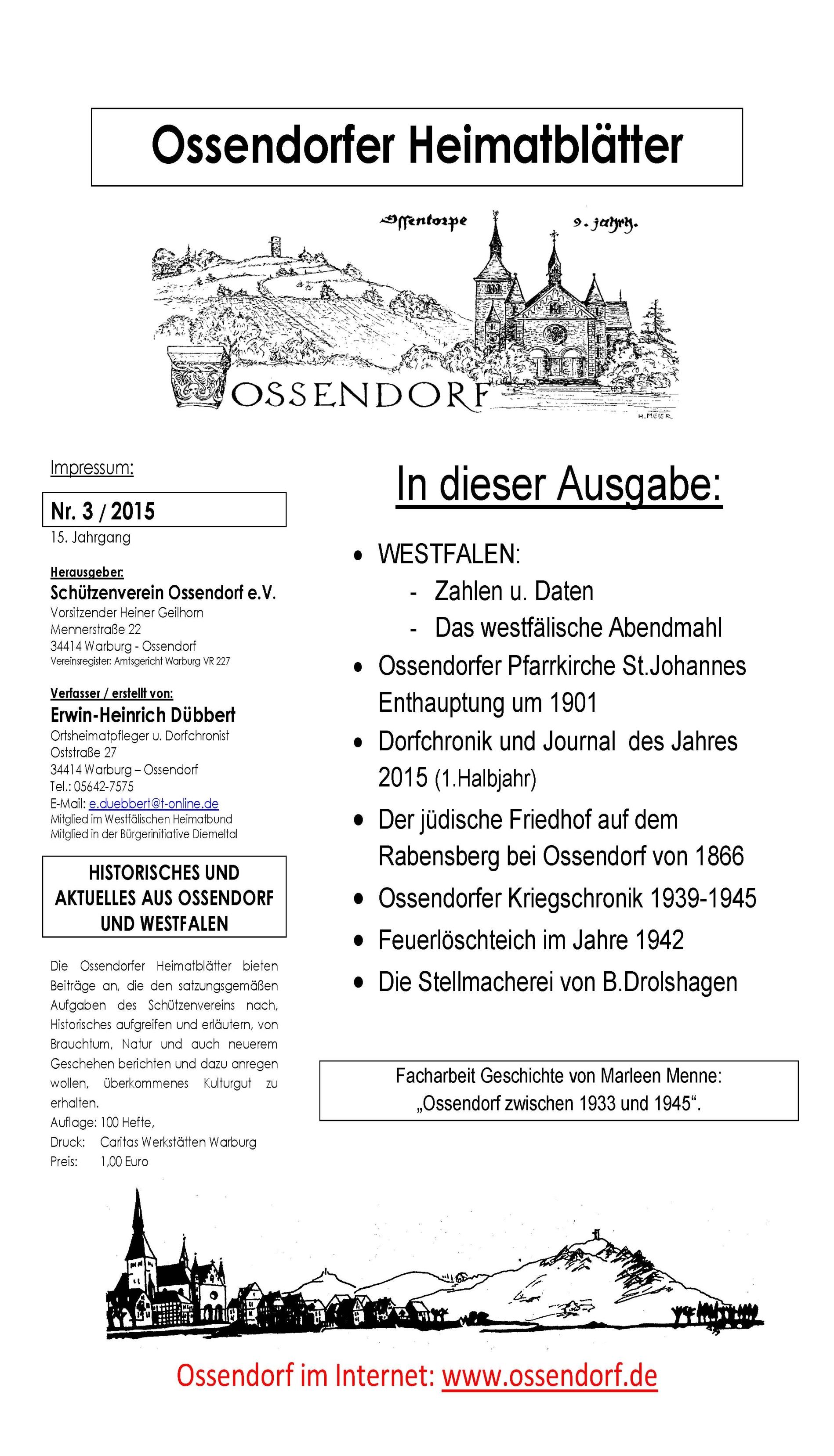 Ossendorfer Heimatblätter Titelblatt Nr. 3 - 2015
