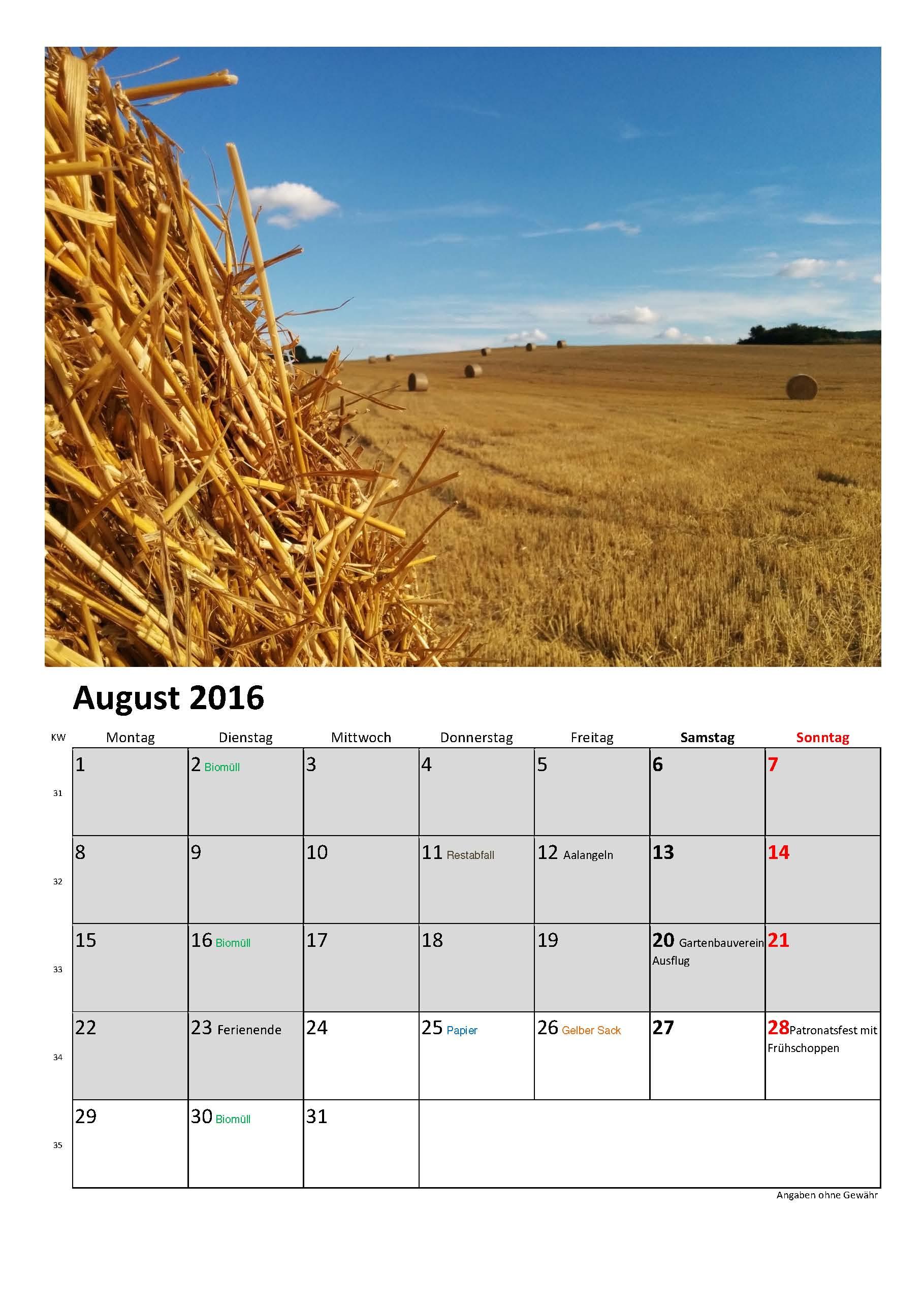 Ossendorfer Fotokalender-2016 August 2016